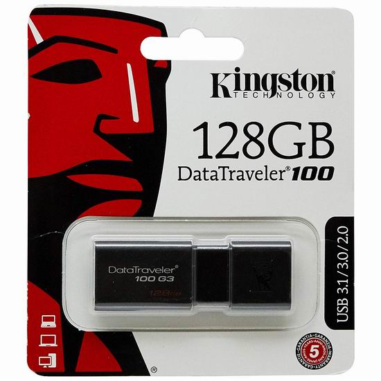 近史低价!Kingston SanDisk DT100G3 128GB 闪存盘/U盘 28.9加元!