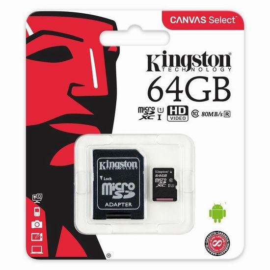 历史新低!Kingston 金士顿 microSDXC Class 10 UHS-I 64GB 闪存卡/储存卡3.9折 16.18加元!送TF转SD适配器!