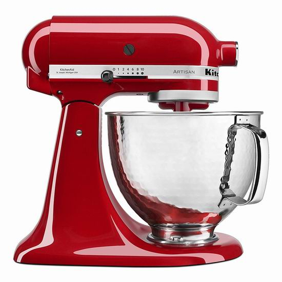 历史新低!KitchenAid 厨宝 KSM150PSHER Artisan 名厨系列 帝国红 5夸脱厨师机5.5折 301.31加元包邮!