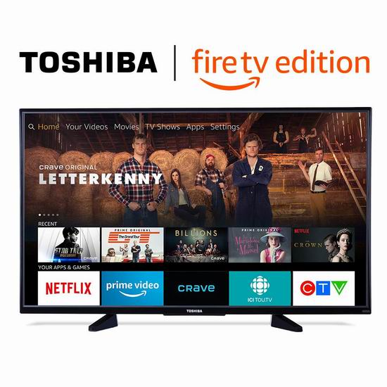 Toshiba 东芝 50LF621C19 43英寸/50英寸 4K超高清 Fire TV版智能电视 399.99-449.99加元包邮!