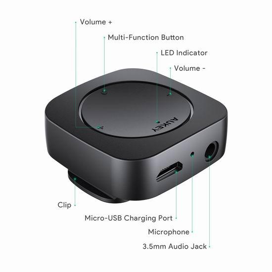 金盒头条:AUKEY 迷你蓝牙无线适配接收器6折 17.99加元!