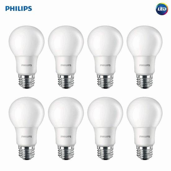 历史新低!Philips 飞利浦 100瓦等效 LED节能灯8件套5.5折 39.41加元包邮!