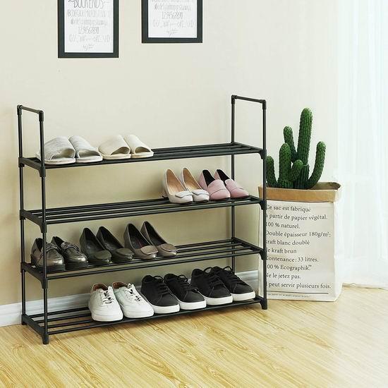 Songmics 4层黑色金属鞋架 20.39加元!