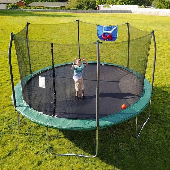 逆季清仓!Skywalker Trampolines 15英尺带保护罩+篮球框 封闭蹦床 299.26加元包邮!