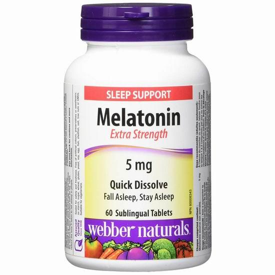 Webber Naturals Melatonin 健康睡眠 强效褪黑素片(5mg x 60片)2.8折 4.44加元!