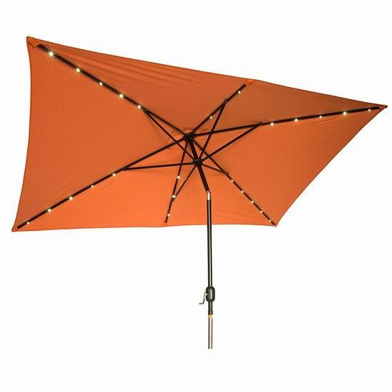 白菜价!历史新低!Trademark Innovations 10x6.5英尺 矩形太阳能照明庭院遮阳伞2.1折 52.93-56.06加元包邮!2色可选!