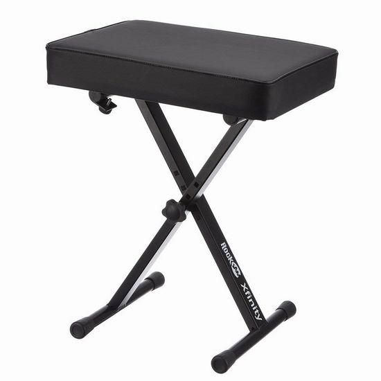 白菜价!历史新低!RockJam KB100 高度可调 可折叠软垫琴凳2.1折 15.55加元清仓!