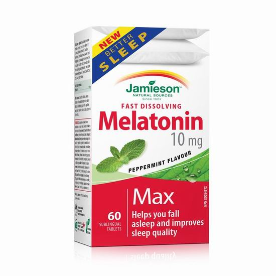 历史新低!Jamieson 健美生 Melatonin 褪黑素速效片(10毫克 x 60片)4.1折 6.17加元!