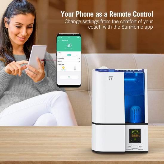 历史新低!TaoTronics 4升大容量 零噪音 Wi-Fi智能加湿器 59.49加元限量特卖并包邮!支持手机遥控!兼容Alexa!