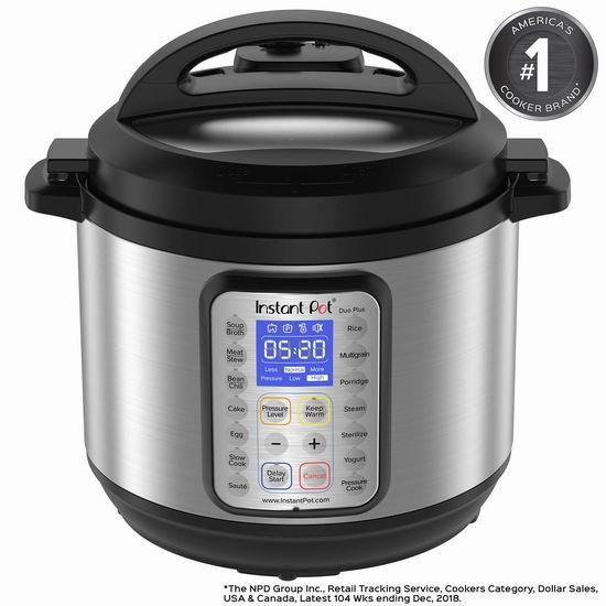 历史最低价!Instant Pot IP-DUO Plus60 8夸脱大容量 9合一多功能电压力锅5折 99.99加元包邮!
