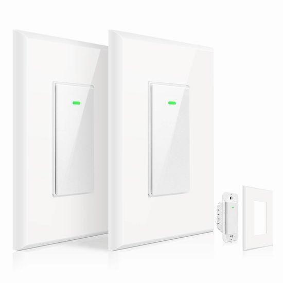 OMOTON 入墙式 Wi-Fi 智能开关2件套 39.99加元包邮!另有单个装21.99加元!支持手机遥控、支持Alexa、Google语音控制!