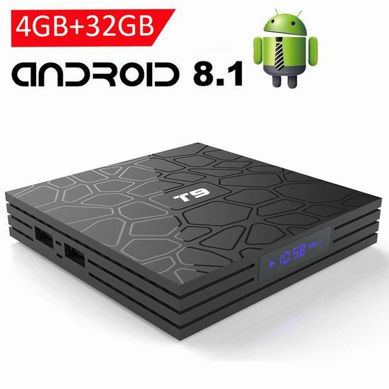 EASYTONE Android 8.1 4K超高清流媒体播放器/网络电视机顶盒(4GB/32GB) 63.74加元限量特卖并包邮!