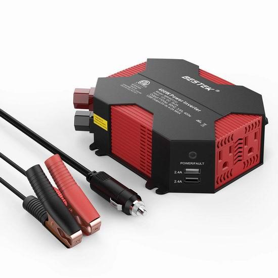 BESTEK 400W 车载电源逆变器(4 USB充电口+2电源插座) 29.99加元限量特卖并包邮!