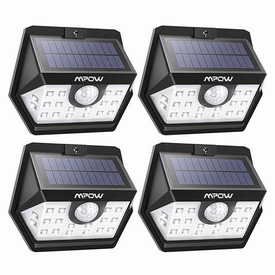 历史新低!Mpow 20 LED 太阳能防水运动感应灯4件套4.7折 24.99加元!