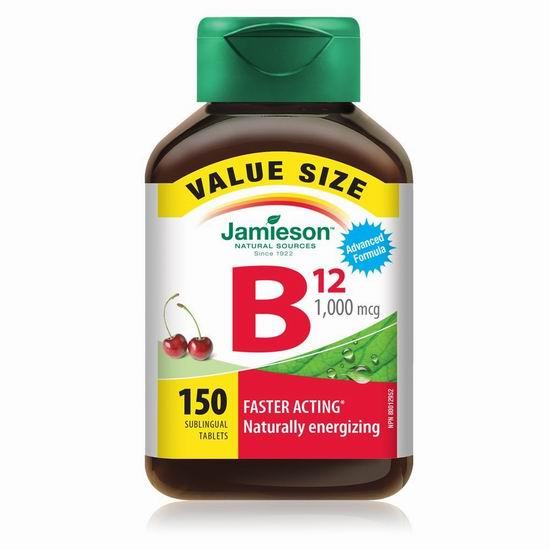 历史新低!Jamieson 健美生 樱桃口味 维生素B12舌下速溶含片(1000mcg x 150片) 9.49加元包邮!