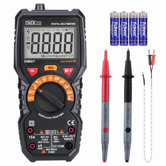 Tacklife DM07 自动量程 多功能数字万用表 16.97加元限量特卖!可测量温度!