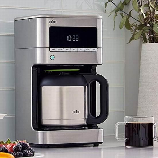 历史新低!Braun 德国博朗 KF7175 不锈钢可编程 滴滤式咖啡机5.7折 109.99加元包邮!配送不锈钢保温壶!会员专享!