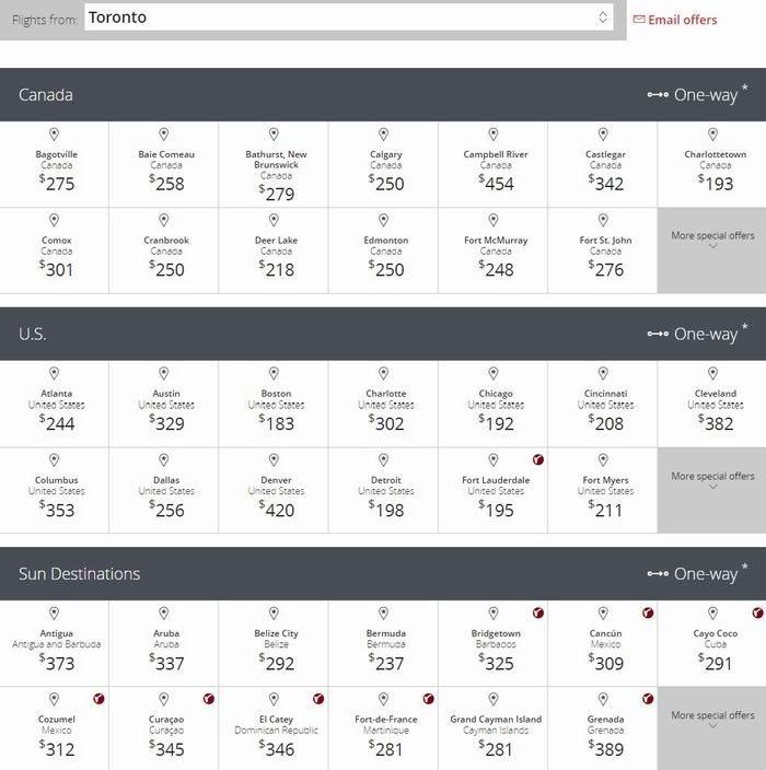 Air Canada 加航 加拿大境内及飞往美国、阳光目的地机票限时促销!春假期间也打折,多伦多往返纽约230元!