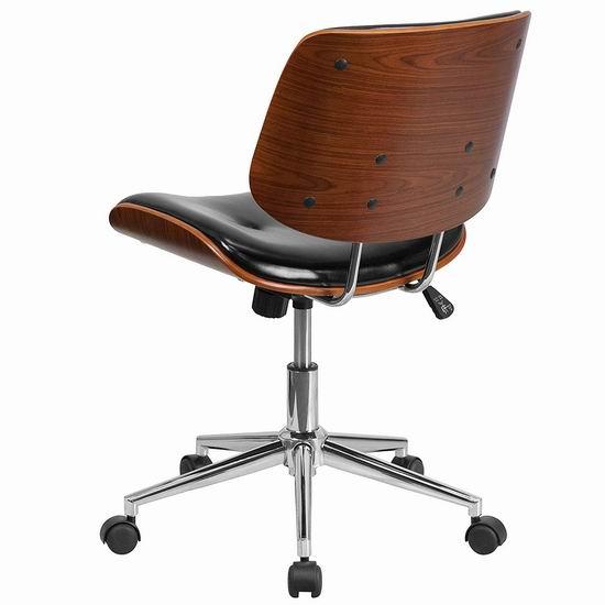 白菜价!历史新低!Flash Furniture Mid-Back 时尚曲木皮革旋转办公椅3.5折 80.96加元包邮!