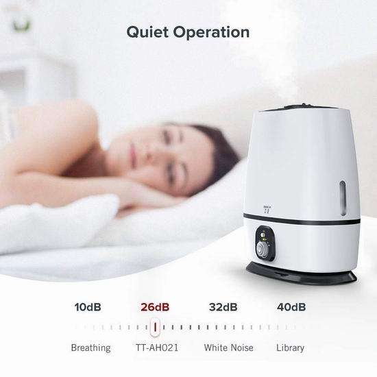 TaoTronics 6升超大容量 50小时 零噪音冷雾加湿器 49.12加元限量特卖并包邮!
