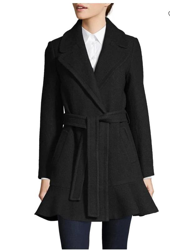 Kate Spade Notch Collar羊毛混纺束腰大衣 300加元(M码),原价 500加元,包邮