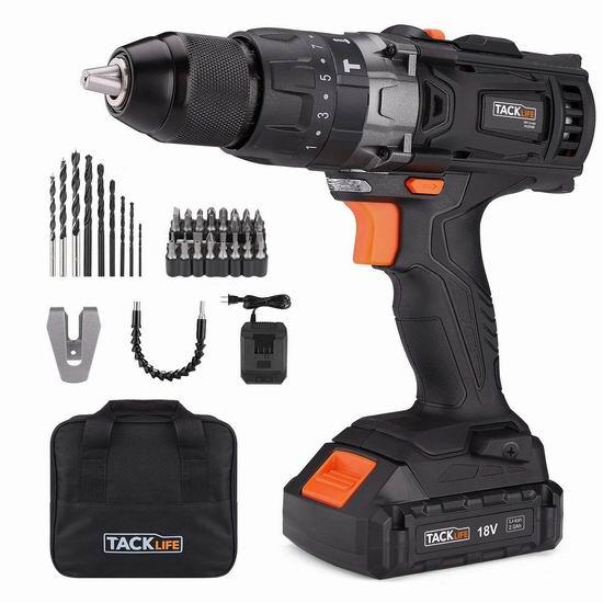 Tacklife PCD04B 20V MAX 无绳电钻/起子机+钻头批头超值装 69.97加元限量特卖并包邮!