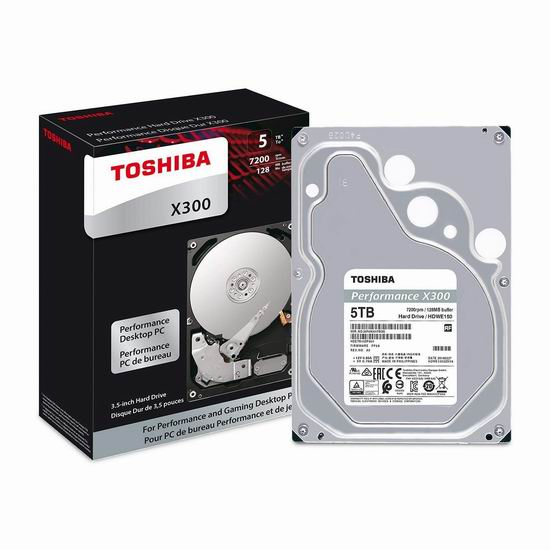 历史新低!Toshiba 东芝 X300 7200RPM 5TB 高性能台式机硬盘 145.19加元包邮!