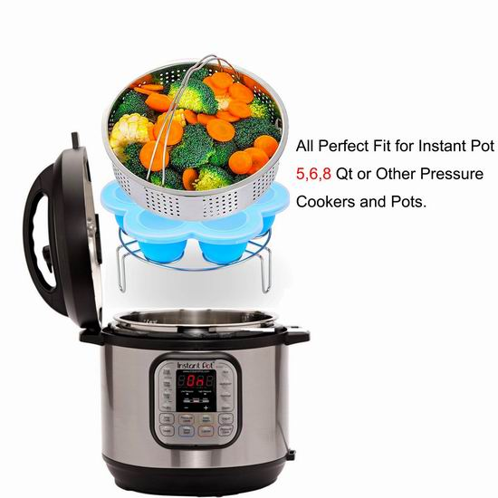 Apluskis 不锈钢蒸格+蒸架+硅胶模组3件套 22.94加元限量特卖!Instant Pot电压力锅专用!