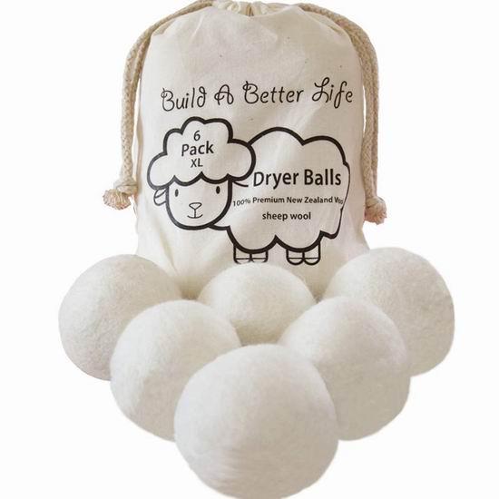 BABL 衣物烘干 纯天然羊毛球6件套5折 17.97加元!