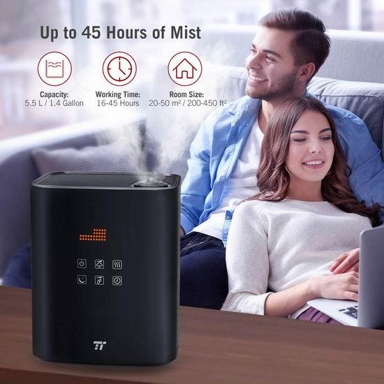 TaoTronics TT-AH018 5.5L 超大容量 零噪音 冷暖雾加湿器 89.24加元限量特卖并包邮!