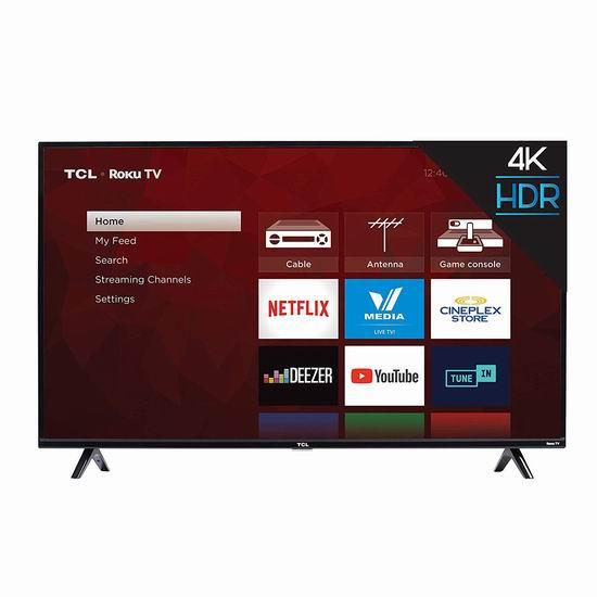 销量冠军!TCL 50S425-CA 43英寸/50英寸 4K超高清智能电视(2019版) 379.99加元包邮!