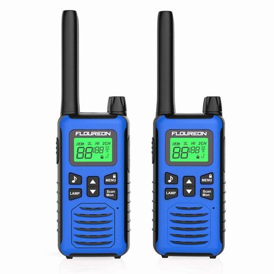 FLOUREON 5公里远距离 专业无线手台/对讲机2件套 19.24-25.49加元限量特卖!5色可选!