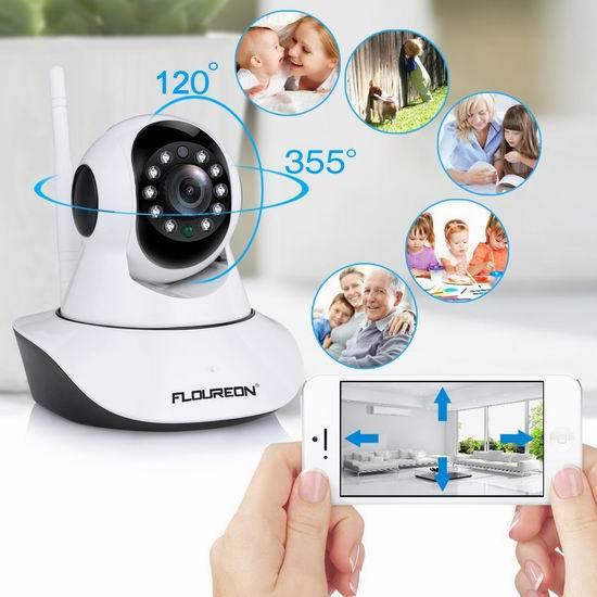 FLOUREON 720P 无线Wi-Fi安全监控摄像头 31.99加元限量特卖并包邮!