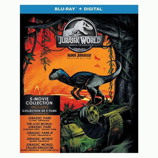 白菜价!历史新低!《Jurassic World 侏罗纪公园+侏罗纪世界》5合一全集 蓝光影碟+高清数字版1.2折 10加元清仓!