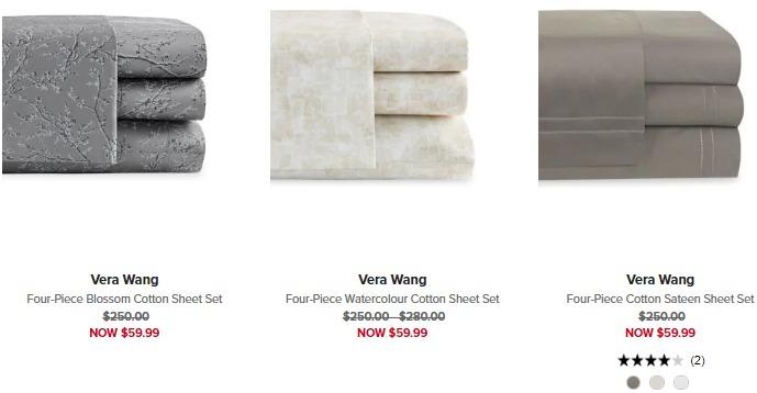 白菜价!精选 Vera Wang 梦幻华美 极致优雅 纯棉床上用品4件套1.8折 50.99加元!5色可选!