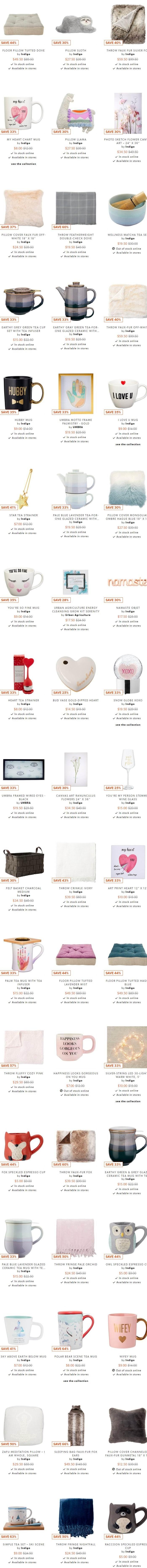 Indigo精选超可爱茶具、毛毯、装饰品、香薰 2.9折起!低至3加元+包邮!