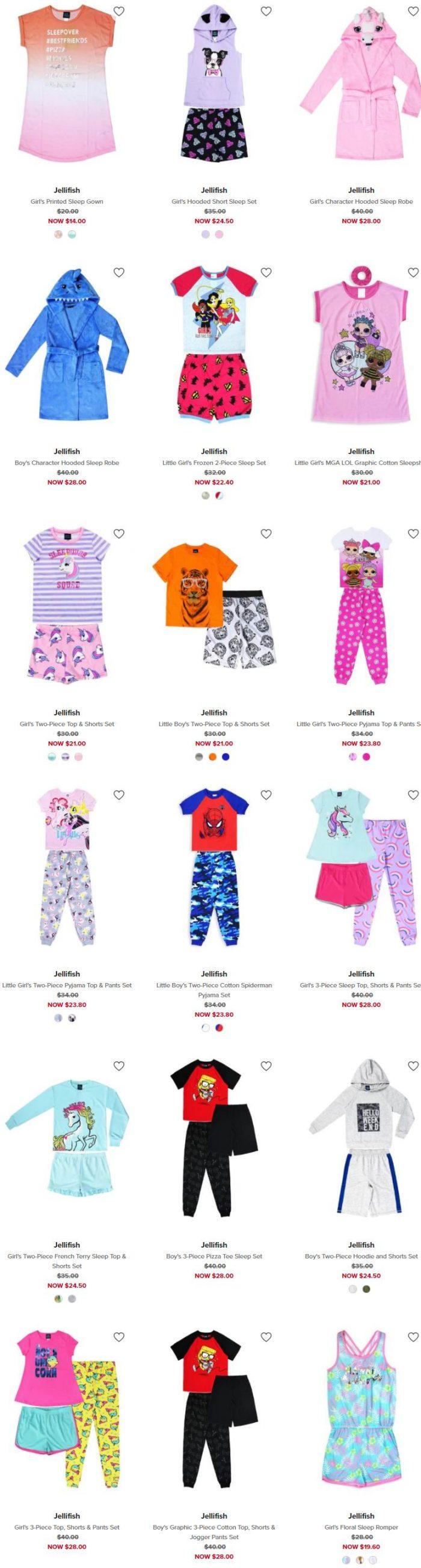 Jellifish超萌儿童睡衣 、睡衣套装 7折+额外7.5折优惠!折后低至 10.5加元!