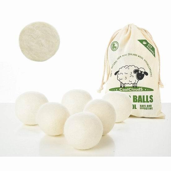 白菜速抢!CoolCloudS 加大号 衣物烘干 新西兰纯天然羊毛球6件套 9.99加元清仓!