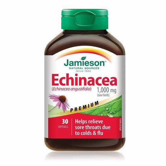 历史新低!Jamieson 健美生 Echinacea 有机紫锥花(1000 mg x 30粒) 7.6加元!