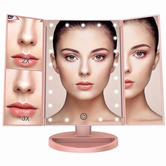 BESTOPE 三折式 LED照明 化妆镜 27.99加元限量特卖并包邮!