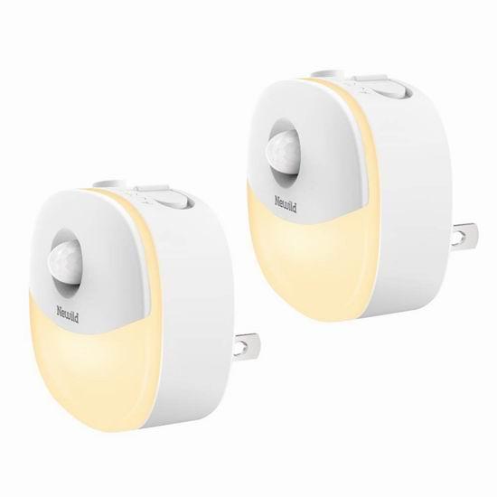 Newild 运动感应 暖白护眼LED夜灯2件套 18.69加元限量特卖!