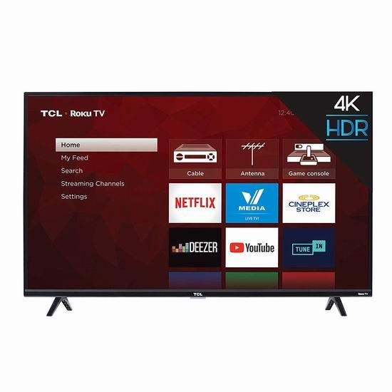 历史新低!TCL 43S425-CA 43英寸 4K超高清智能电视(2019版) 329.99加元包邮!