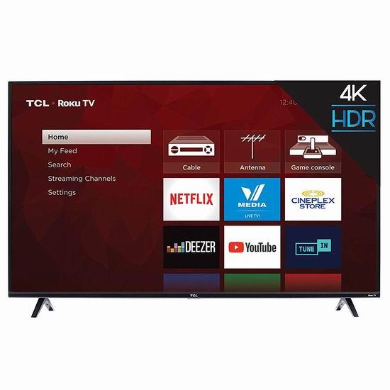 历史新低!TCL 55S425-CA 55英寸 4K超高清智能电视(2019版) 449.99加元包邮!