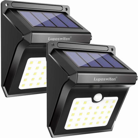 Luposwiten 28 LEDs 超亮太阳能防水运动感应灯2件套 17.24加元限量特卖!