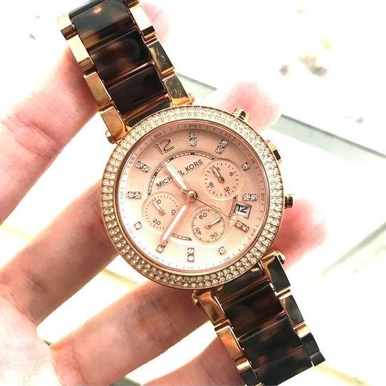 Michael Kors MK5538 Parker 金色三眼计时水晶腕表/手表5.1折 139加元限量特卖并包邮!