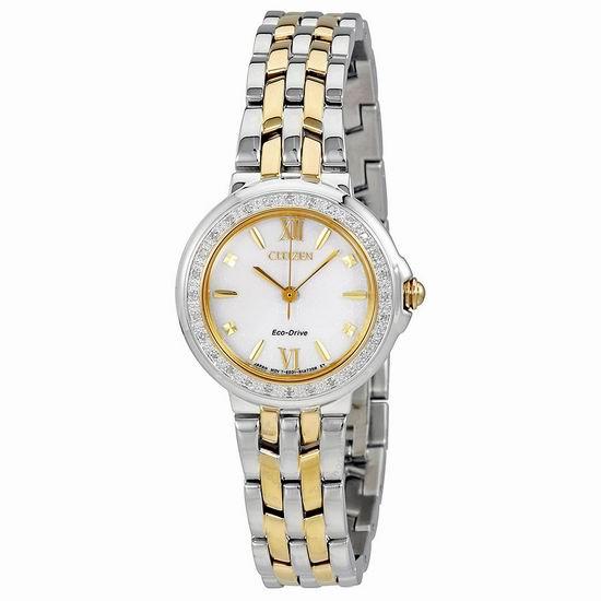 拼手速!历史新低!Citizen 西铁城 EM0444-56A 光动能 女式水晶腕表/手表3.5折 151.93加元包邮!