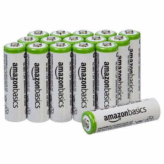 近史低价!AmazonBasics AA 2000 mAh 可充电镍氢电池16只装 25.98加元!