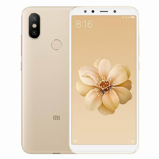 Xiaomi 小米 Mi A2 5.99英寸 双卡双待 双摄 解锁版智能手机(64GB + 4GB) 225加元包邮!