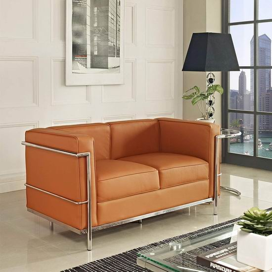 白菜速抢!历史新低!Modway 柯布西耶风格 真皮双人沙发2.3折 280.23加元清仓并包邮!