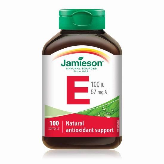 历史新低!Jamieson 健美生 天然维生素E软胶囊(100 IU x 100粒) 5.69加元!